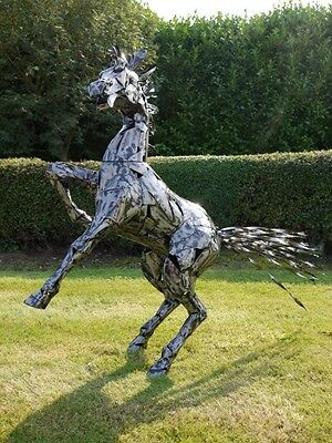 140cm Animal Outdoor Garden Art Statue Ornament Sculpture Large Rearing Horse