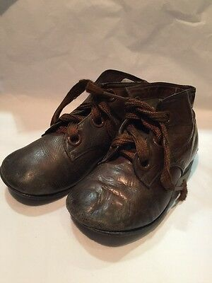 VINTAGE CHILDRENS LEATHER EDWARDIAN BROWN LACE UP BOOTS Boys 1920's