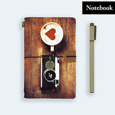 Genuine Leather Journal Travel Diary Travelers Notebook Size Coffee Camera