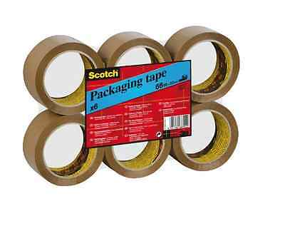 Packing Tape Brown Scotch x 6 Rolls Packaging Boxes Removals NEW Brown