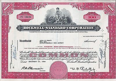 Rockwell Standard Corporation, 1964 (100 Shares), sig. W.J.Rockwell
