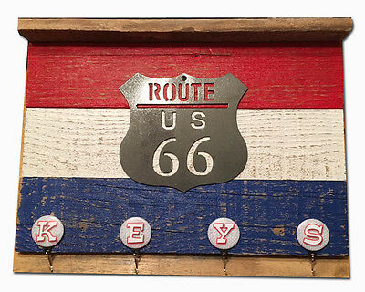 Route 66 Reclaimed Wood Key Ring Rack with Plasma Cut Route 66 Shield Four Hooks