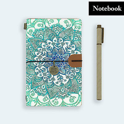 Genuine Leather Journal Travel Diary Travelers Notebook Size Emerald Aztec