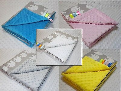 MINKY PATTERNED REVERSIBLE BLANKET 100x75 SOFT COSY COT, CRIB, PRAM QUILT COVER