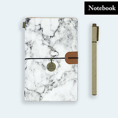 Genuine Leather Journal Travel Diary Travelers Notebook Size Marble Stone