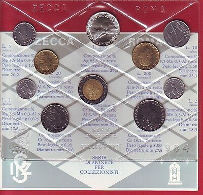 R* Italy Official Mint Coin Set 1984 Bu Condition