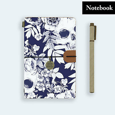 Genuine Leather Journal Travel Diary Travelers Notebook Size Skull Flower