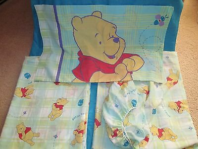 Disney Winnie the Pooh Complete Twin Sheet Set Flat Fitted Pillowcase