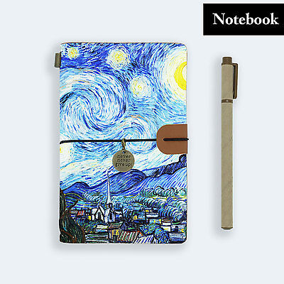 Genuine Leather Journal Travel Diary Travelers Notebook Size Starry Night