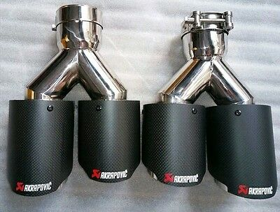 2 x Universal AKRAPOVIC Style Twin Exhaust Tips Muffler Pipe Carbon Fiber