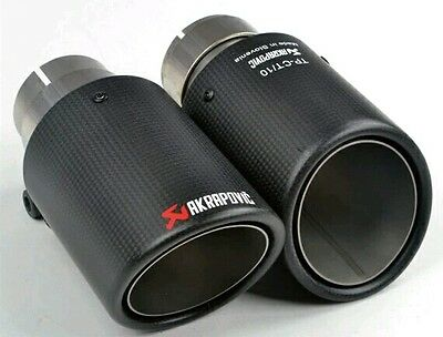 2 x Universal AKRAPOVIC Exhaust Tips Muffler Pipe Carbon Fiber & stainless steel