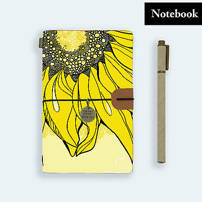 Hand Made Genuine Leather Journal Travel Diary Travelers Notebook Size Sunflower