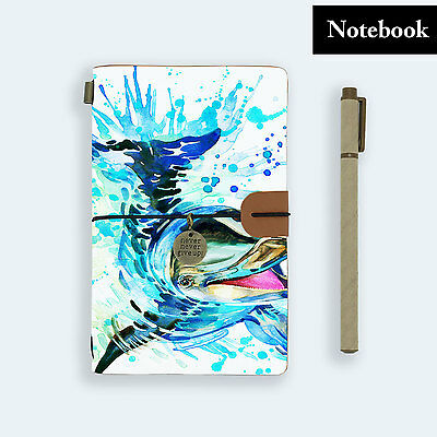 Hand Made Genuine Leather Journal Travel Diary Travelers Notebook Size Dolphin