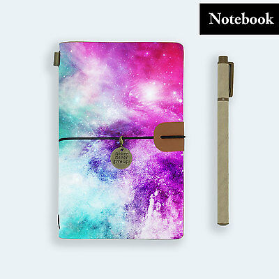 Genuine Leather Journal Travel Diary Travelers Notebook Size Universe Space Pink