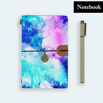 Genuine Leather Journal Travel Diary Travelers Notebook Size Watercolor Universe
