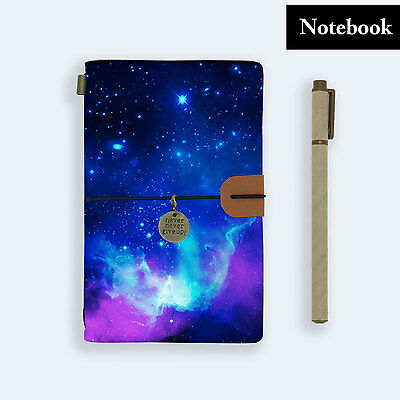 Genuine Leather Journal Travel Diary Travelers Notebook Size Universe Purple