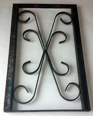 """Vintage Metal Fence Piece 19 3/8"""" x 12"""" Decorative Rusty Patina Curly-que Inset"""