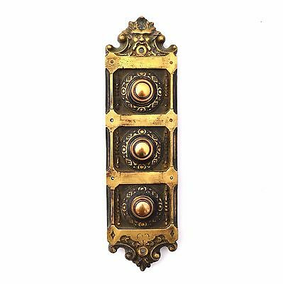 Antique 3 Family Push Button Door Bell Electric Brass Greenman NeoGothic Large
