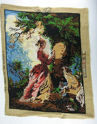Completed Needlepoint Embroidery Tapestry Victorian Woman Dog Tree