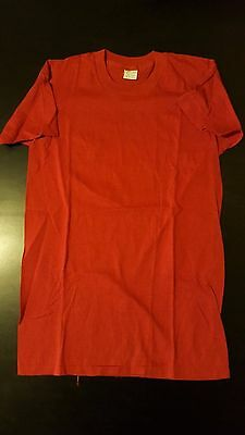 VTG 70s 80s Youth Kids XL 14-16 Red Generic Tag 100% Cotton T-Shirt Punk Rock
