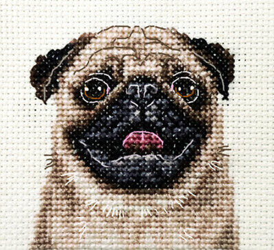 FAWN PUG dog, puppy ~ Full counted cross stitch kit, all materials included