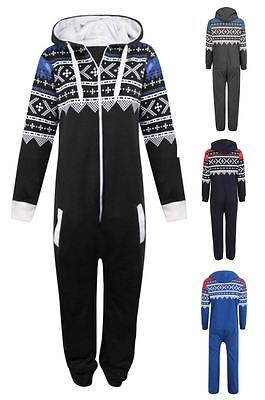 New Unisex Kids Boys Girls Aztec Print Zip Up Hooded Onesie 7-14 Yrs