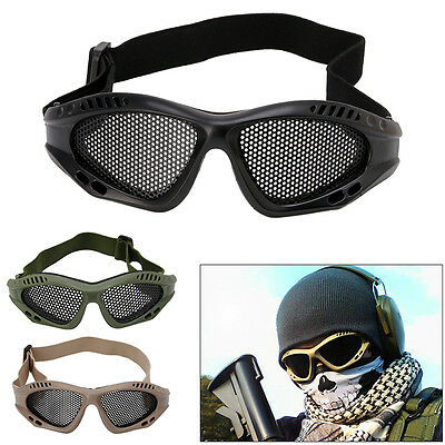 Tactical Airsoft Eye Protection Goggles Motorcycle Anti Fog Metal Mesh Glasses