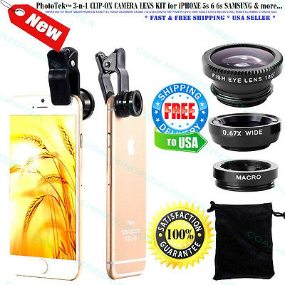 3n1 Cell Phone Camera Lens Kit Universal Clip-On Wide Macro HD360 HD450 HD90 LUX