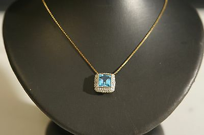 """LOVELY 14k YELLOW GOLD CHAIN WITH BLUE TOPAZ & DIAMONDS  PENDANT length 14"""""""