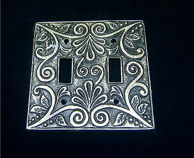 Vintage Metal Ornate Double Switch Light Plate Cover
