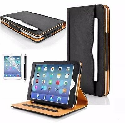 Genuine BLACK & TAN Stand Smart Magnetic Leather Case Cover For Apple iPad6 Air2