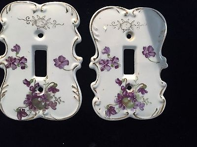 Two Vintage Japan Cream & purple Porcelain Light Switch Cover Plate Shabby Chic