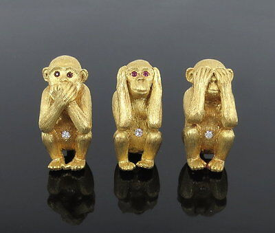 Vintage 0.30ct Diamond & 18K Yellow Gold Three Wise Monkeys Brooches