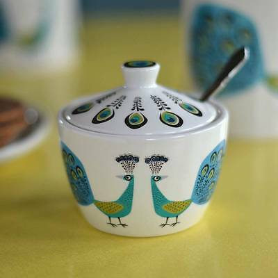Peacock Sugar Pot with Lid by Hannah Turner