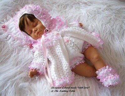 """Hand Knitted 4 Pce Lace Trim Matinee Set to fit 19""""-23"""" Reborn Baby / 0-3m Baby"""