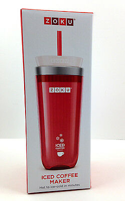 NEW in BOX - ZOKU Iced Coffee Maker Travel Mug RED - FREE Shipping