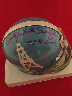 Billy White Shoes Johnson Signed Oilers Throwback Mini Helmet