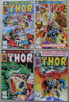 MIGHTY THOR #296-299 VALKYRIE MARVEL COMICS (4) COMIC RUN BRONZE AGE VF to NM