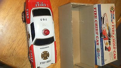 Vintage1960's Tin Fire Chief Car Battery Operated made in japan with box