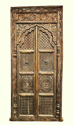 Antique Timber Hand Carved Indian Window Small Doorway Architectural Statement
