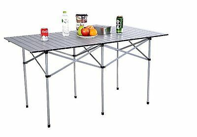 Folding Camping Table Roll Up Portable Outdoor Picnic Trip Aluminum W/ Carry Bag
