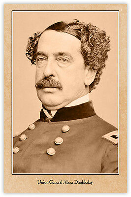 Union General Abner Doubleday Civil War Vintage Photograph Card Baseball