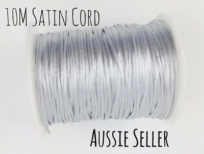 10m SILVER satin cord 2mm teething DIY necklace baby silicone grey rattail beads