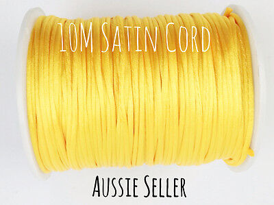 10m YELLOW GOLD satin nylon cord 2mm teething DIY necklace bracelet silicone