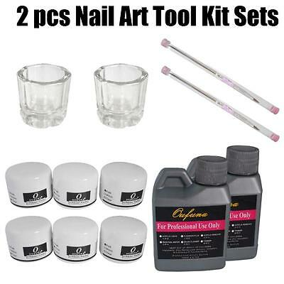 2pc Nail Art Tool Kit Set Crystal Powder Acrylic Liquid Dappen Dish BY