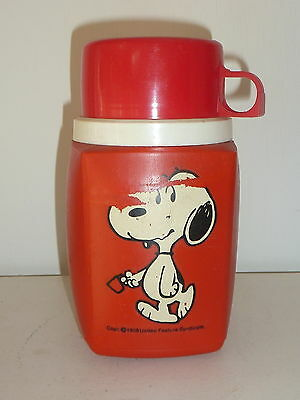 1958 United Feature Syndicate SNOOPY Peanuts RED 8 OZ Thermos w/ NO Stopper