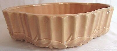 """Vintage 1940's 11"""" Oval Pink Peach McCoy Art Pottery Planter Console Mid Century"""