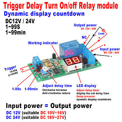 DC12V/24V Trigger LED Display Timing Timer Delay Turn ON/OFF Switch Relay Module
