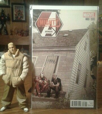 """Art Asylum """"My Name is Eminem"""" Figure and rare Mighty Avengers 3 variant lot"""