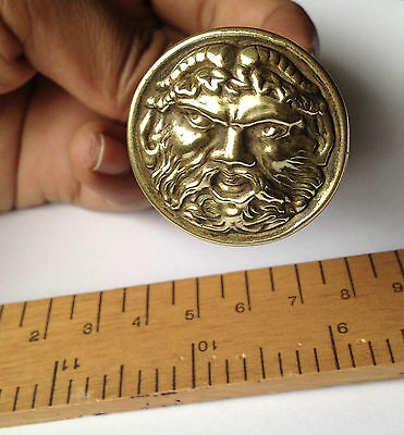 Antique Victorian Brass Door Knob Rare Satyr Mint Condition
